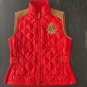 Red Polo Ralph Lauren Sport Vest with Tan Suede